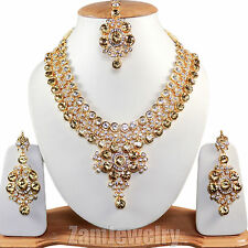 Trendy Jewelry Gold Plated Partywear Indian Kundan Necklace Set
