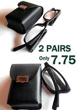 MT18/9  2 X PAIRS Compact+Portable 2014 Folding Black Reading Glasses,with Case