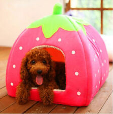 Cute Strawberry Pet Warm Bed House Basket Kennel Mat Dog Cat Doggy Poppy S M L