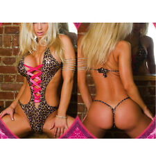 New Fashion Womens Ladies Leopard Patent Leather Sexy Lingerie Coverall