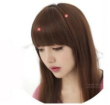 New Fashion Girls Clip on Front Inclined Bang Fringe Hair Extensions AB