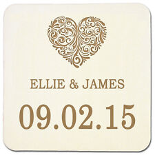 Heart Personalised Wedding Invites Beer Place Mats Table Decorations Favours