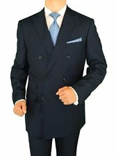Gino Valentino 2 Piece Men's Suit Double Breasted Ticket Pocket Navy Stripe
