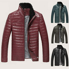 ❤Top Quality❤ Genuine Men's Real Sheep Leather Wool Fur Collar Down Jacket Coats