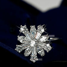 18K WHITE GOLD GP MADE WITH SWAROVSKI CRYSTAL ENGAGEMENT WEDDING DRESS RING