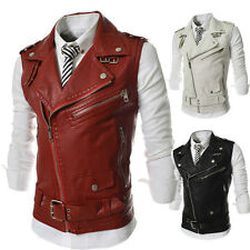 Stylish Zipper Men's PU Leather Waistcoat British Style Sleeveless Vests Coats