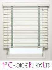 MADE TO MEASURE WOODEN VENETIAN BLIND WHITE WOOD WITH GREY TAPES 50MM SLATS