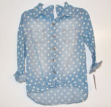Cherokee Girls Button Up Top with Crop Knot Blue White Dots Size Med 7-8 NWT