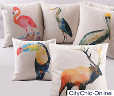 45cm x45cm Watercolor Birds & Animals Decorative  Linen Cushion Cover