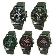 Men's Dainty Analog Rubber Band Stainless Steel Hours Quartz Sports Wrist Watch