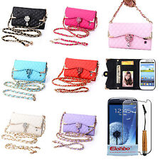 Pretty Diamond PU Leather Flip Wallet Case Cover For Samsung Galaxy S3 III i9300