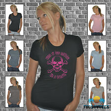FROSTY TEES WOMENS T-SHIRT OLD SCHOOL PIRATE PRO PIRACY PINK EFF SKULL INTERNET