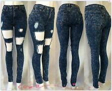 High Waisted/Rise med acid wash fashion sexy Distressed Ripped Skinny Jeans pant