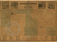 1878 Historical Map Eau Claire County Wisconsin Vintage  Largest Size