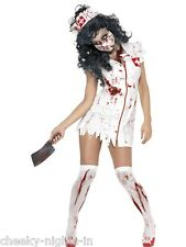 Womens Ladies Teen Zombie Nurse Costume Halloween Horror Dress Mask Headpiece