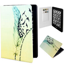 """Lovely Feather PU Leather Flip Folio Case Cover For 6"""" Amazon Kindle Paperwhite"""