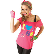Womens I Love The 80's T-Shirt Rubies New Fancy Dress Costume Adult Outfit Top