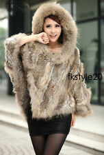 Wide Hooded Lady Women Real Rabbit Fur Raccoon fur Knit Cape Cappa Cloak Poncho