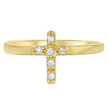 Gold Filled 18k Cross Crucifix CZ White Crystal Religious Children's Ring