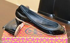 TORY BURCH EDDIE PEEP TOE BALLET SMOOTH PATENT LEATHER BLACK SZ 7.5  12138234