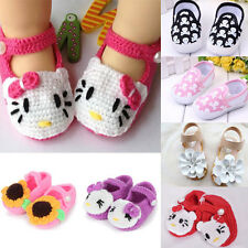 Newborn Infant Baby Handmade Knit Crochet Wool Shoes Animal Floral Pattern