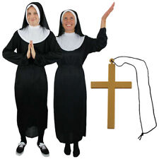 LADIES NUN COSTUME HOLY SISTER FANCY DRESS HEADPIECE AND COLLAR FITS UK 10/22