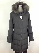 Calvin Klein NWT Gorgeous Charcoal Down Jacket with Hood and Removable Faux fur