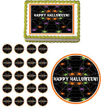 Halloween Spiders Edible Party Cake Topper Cupcake Image Decoration