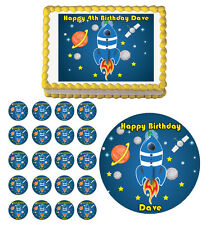 SPACE SHIP PLANET STARS Edible Party Birthday Cake Topper Cupcake Decoration