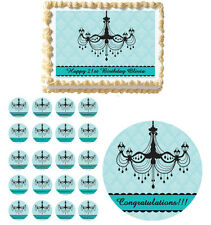 Tiffany Blue Elegant Formal Sweet 16  Edible Birthday Party Cake Topper Cupcake
