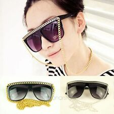 Vintage Fashion Womens Full Frame Sunglasses Eyeglasses With Gold Silver Chain