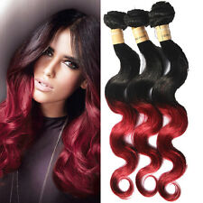 US Local Hot Ombre Brazilian Human Hair Extension 2tone 1B BURG# 2/3Bundles New