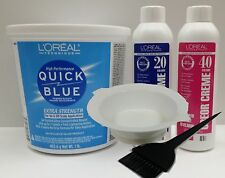 LOREAL HAIR BLEACH LIGHTENER POWDER 16OZ + DEVELOPER CRÈME 8OZ  +BOWL+BRUSH