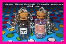 POISON 2 style Large Charm Bottle Skull & Bone Silver Plated Necklaces*USA MADE