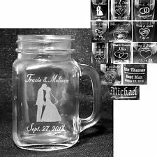 Personalized Glass Mugs Custom Engraved Wedding Party Groomsmen Bridemaid Gifts