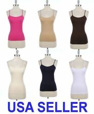Seamless Spaghetti Strap Camisole Solid Tank Top One Size Spandex Cami