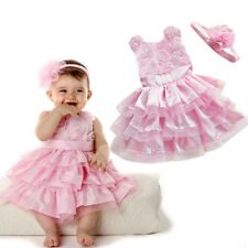 Baby Flower Girl Dress Tutu Wedding Headband Party Outfit Birthday Gift Sz 0 1 2