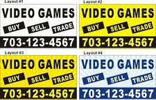 3ftX5ft Custom Printed VIDEO GAMES BUY SELL TRADE Banner Sign with Your Phone #