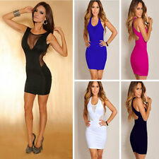Sexy Women's Slim Sheer Backless Blending Dress Club Party Mini Dress Bodycon