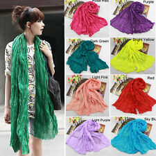 Lady Womens Girls Stylish Soft Cotton Voile Scarf Candy Color Warm Scarves Shawl