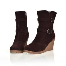 Women Sexy Buckle Strap Faux Suede Wedge High Heel Pull On Ankle Boots Plus Size