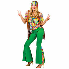 Ladies 60's Groovy Hippy Retro Halloween Fancy Dress Up Party Costume Outfit New