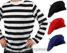 ADULT FRENCH FANCY DRESS LONG SLEEVE STRIPE TOP AND BERET BASTILLE DAY COSTUME