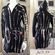 100% Cotton Hand Embroidered Black White Tie Dye Hoodie Jacket Long BoHo Coat