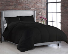 3pc Black Modern Goose Down Alternative Comforter Set, King/Queen/Twin Sizes