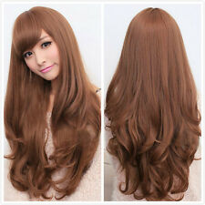 New Womens Long Curly Wavy Full hair wigs Cosplay Party Costume Wig Brown/Black