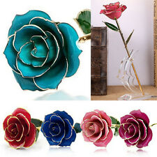 Dipped 24K Gold Genuine Preserved Rose Valentine's Day Friend Mom Gift 5 Colors