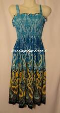 Summer Sundress Knee Tube Halter Top Style BLUE Paisley Size L XL  I65BL