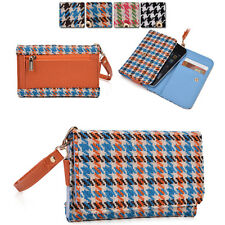 Kroo Ladie-s Houndstooth Pattern Fad Fashion Purse Case AM|F fits Mobile Cell