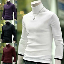 Mens Long Sleeve Cotton Solid Color Knitwear Turtleneck Tee Shirt Sweater 4Color